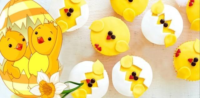 """Veselé Veľkonočné cupcakes - """"kuriatka"""""""
